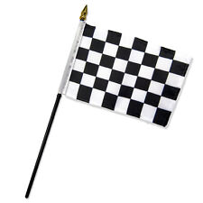 "Wholesale Lot of 12 Black & White Checkered Checker 4""x6"" Desk Table Stick Flag"