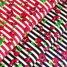 Cotton Print Fabric per FQ Strawberry Cherry Grape Retro Stripe Quilt Craft VS14