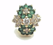 Estate designer signed Mayors Emerald and diamond flower ring in 14K yellow gold