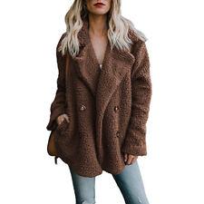 Women Teddy Bear Button Pocket Fluffy Coat Fleece Fur Jacket Cardigans Outerwear