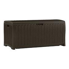Pool Deck Outdoor Storage Bin Bench Garden Box Heavy Duty 73 Gallon Brown New