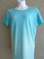 Only Necessities by Woman Within Aqua Dip Dyed Crew Neck Tee Top Plus L 18-20W