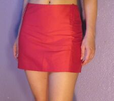 PATRIZIA PEPE Lipstick Red Mini Skirt w/ Slit Silk Blend 44 4 Made in Italy