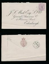 GB QV PENNY LILAC 14 DOT PERFIN on PRINTED ENVELOPE GENERAL LIFE + FIRE 1882