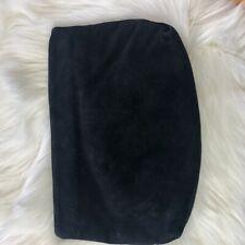 Avante Black Suede Vintage Clutch Zipper Closure