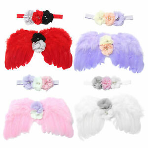 Newborn Apparel Photography Props Angel Wings Chic Flower Pearl Headband Outfit
