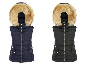 Charcoal Fashion Women's Padded Gilet with Hood Fur Trims