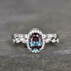 2.50Ct Oval Cut Alexandrite Halo Bridal Engagement Ring Set 14K White Gold Over