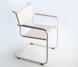 Thonet Freischwinger S34 Weiß Leder Mart Stam Bauhaus white cantilever chair