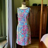 LILLY PULITZER NWOT Shift Rayon Multi Color Shift Dress LARGE Spring Summer
