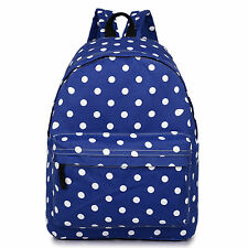 Women Girls Canvas Fashion Backpack Large School Bag Handbag Polka Dot Navy