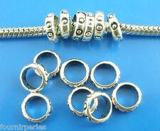 100 Perles FP intercalaires Petit Cercle Pr Bracelet Charms 7mm Dia.
