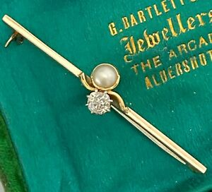 ANTIQUE 9ct GOLD OLD CUT DIAMOND & PEARL BROOCH STOCK PIN