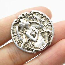 Antq 925 Sterling Silver Victorian Lady Pin Brooch
