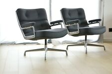 "2x fauteuils ""Lobby chair"" de Charles & Ray Eames Herman Miller cuir vitra knoll"