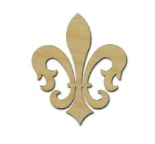 Fleur De Lis Shape Unfinished Wood Cut Out DIY Crafts Variety of Sizes #FLE009