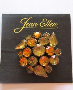 Pin/Brooch- Floral Design - gold -light orange -sparkly stones- round