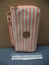 Pink and White Striped Wallet Feels like a Soft Vinyl Many Different Pockets VGC