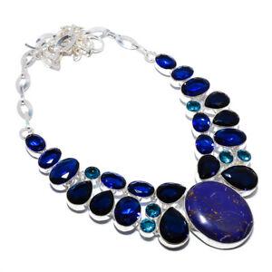 "Copper Purple Turquoise & Blue Sapphire 925 Silver Necklace 17.99"" F2556"