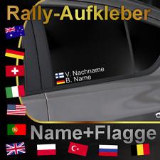 Autoaufkleber FLAGGE NAME Wunschtext 2 Stück - Motorsport Rally DTM Racing