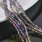 100pcs 3mm Cube Square Faceted Crystal Glass Loose Spacer Beads Purple Colorized