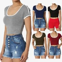 TheMogan Side Stripe Short Sleeve Scoop Neck Crop Top Cotton Cropped Tee T-Shirt