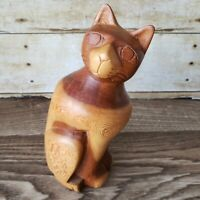Cat Sculpture Vintage Hand Carved Wood Folk Art Carving MCM Modern