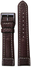 20mm Panatime Brown Dimo Calf Leather Pilots Style Watch Band w/White Stitch