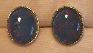 Opal Earrings - Silver Plated Triplet Opal - 10x8mm - Good Value - Gift Idea