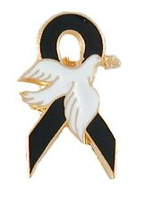 Black Ribbon White Dove Lapel Pin Mourning Melanoma POW MIA Gang Funeral New