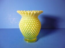 "ANTIQUE FENTON GLASS VASE,TOPAZ YELLOW,OPALESCENT HOBNAIL,RUFFLED RIM 5.5""TALL"