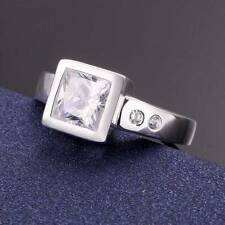 Fashion Jewelry 925 Sterling Silver Clear Stone Elegant Lover Rings S 8/Q
