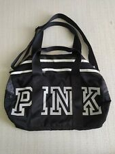 Victoria's Secret PINK LOGO White & Black Nylon Duffle Bag