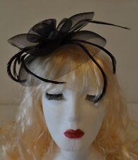Black Hat Fascinator Large 20cm Feathers Flower Wedding Hats Ladies Day Races