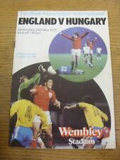 24/05/1978 England v Hungary [At Wembley] (folded, team changes, rusty staples).