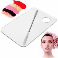 Clear Acrylic Nail Eye Shadow Mixing Palette + Stainless Spatula Makeup Cosmetic