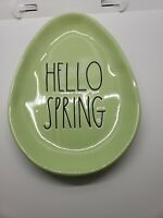 "New RAE DUNN Easter LL ""HELLO SPRING"" Green Egg Oval Plate By Magenta"