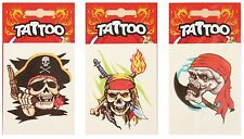 3 Large Non permanent Temporary Ephemeral Tattoos Pirate Disguise accessory