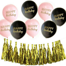 Happy Birthday Pink Black Balloons AND Gold Foil Tassels Banner Garland