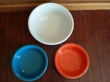 HOMER LAUGHLIN CHINA FIESTA WARE SERVING BOWL CEREAL WHITE BLUE ORANGE