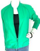 Lululemon Bomber Track Jacket Zip Pockets Rib Lattice Back Vent Green 8 M EUC