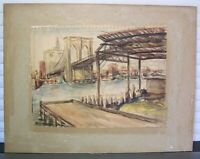 Brooklyn Bridge & Manhattan Skyline Painting 1950s Signed
