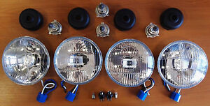 5 3/4 Inch Complete De Luxe Conversion Glass Set Halogen Pair 4x EU style