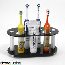 Electric Toothbrush Holder Toothpaste Holder 4x Toothbrush Stand Black & White
