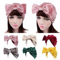 Velvet Big Bow Bonnet Chemo Turban Hat Beanie Head Scarf Wrap Hijab Cap UK