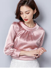Women Satin Silky Shirt Solid Pleated Long Sleeve Shiny Blouse Pullover Top Pink