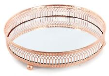Copper Effect Mirror Tealight Candle Tray Plate 20Cm