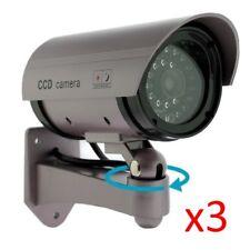 3 X Manichino Realistico Finta CCTV Telecamera Sicurezza Lampeggiante LED Interni Esterni Argento