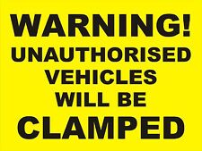 WHEEL CLAMPING  SIGN - 400x300mm No Parking - Security