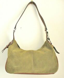 Fossil Olive Green Suede Small Hobo Bag, Brown Leather Handle & Trim, Key Charm